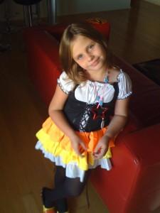 Maisie Halloween preparations.